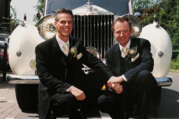 Ad en Herman op hun huwelijksdag in 2001