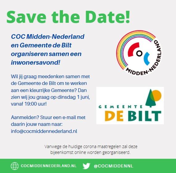 savethedatedebiltjpg bij COC Midden-Nederland